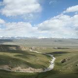 Kara-Say (Koksaal Alatau, Kyrgyzistan) : vue vers le Nord et le Terskey Alatau, 11 juillet 2006. Photo : J. Ouvaroff