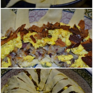 Breakfast Crescent Ring - with Bacon, Eggs, Hashbrowns, & Cheese.