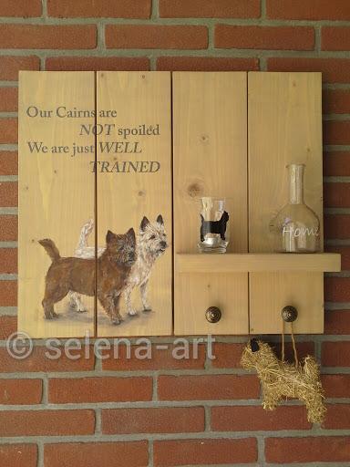 Steigerhouten bord met Mungo en Selena