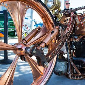 Steam Punk Roller by Boyd Smith - Transportation Motorcycles ( steam punk, custom bike, copper wheel )
