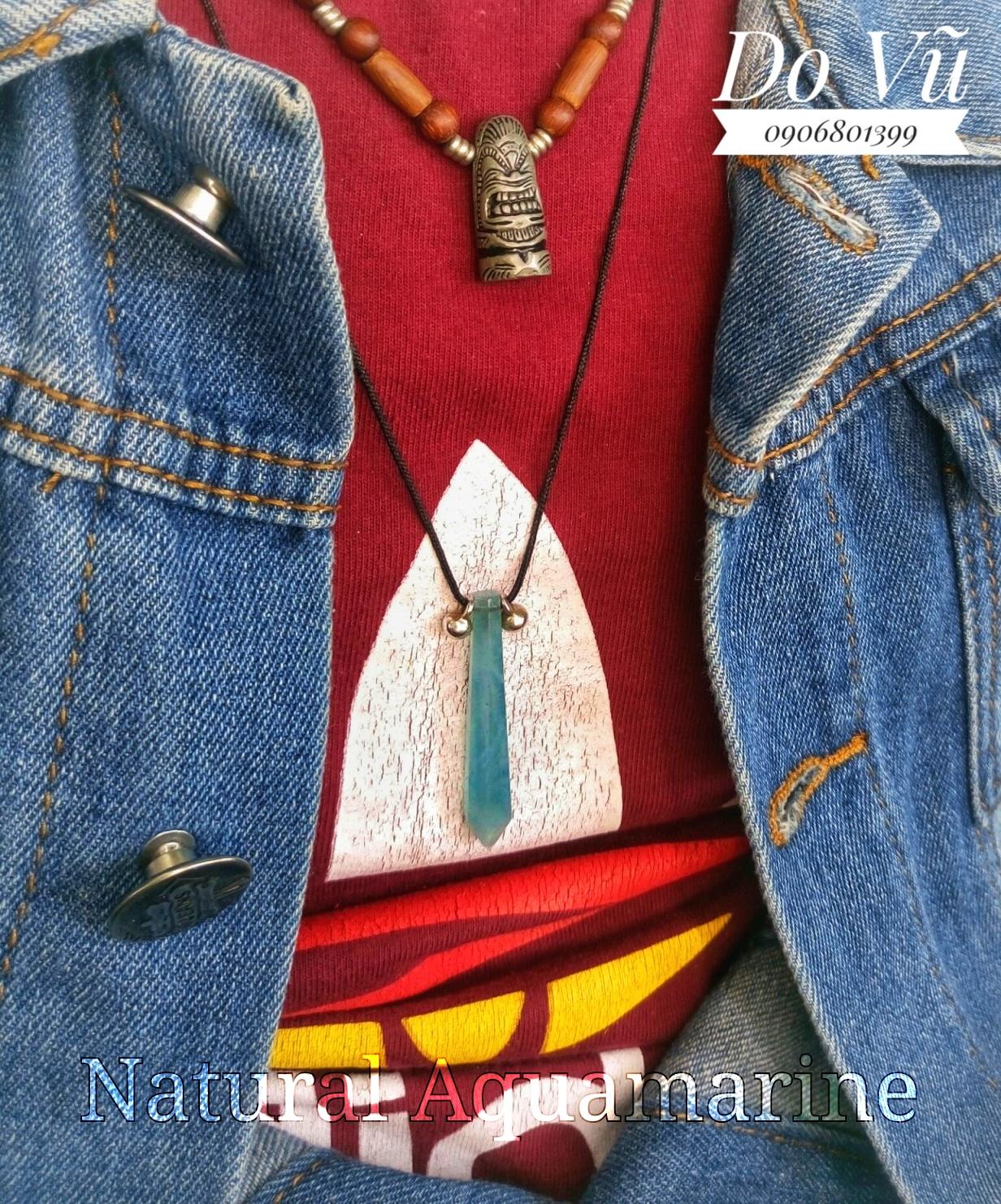Mặt dây đá Ngọc Lam Biển, Natural Aquamarine hình trụ lục giác ( 12/04/20, 04 )