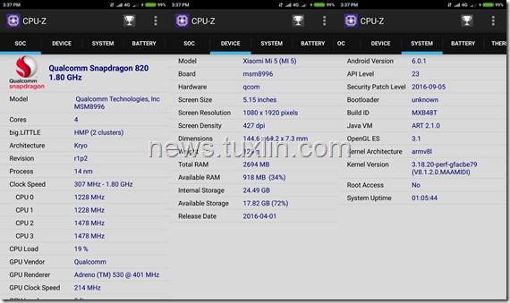 Benchmark Xiaomi Mi5 32GB