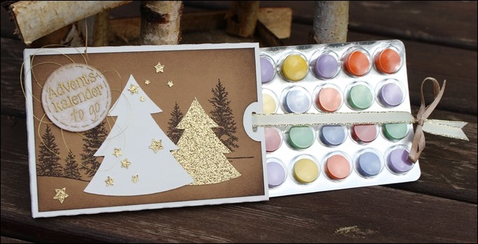 Adventskalender to go Stampin Up Braun Neutrals Tannenbaum Christmas Tree Sternenbordüre 01