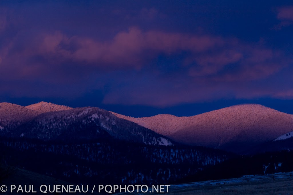 Pink alpenglow - one of the best things about winter in the mountains.