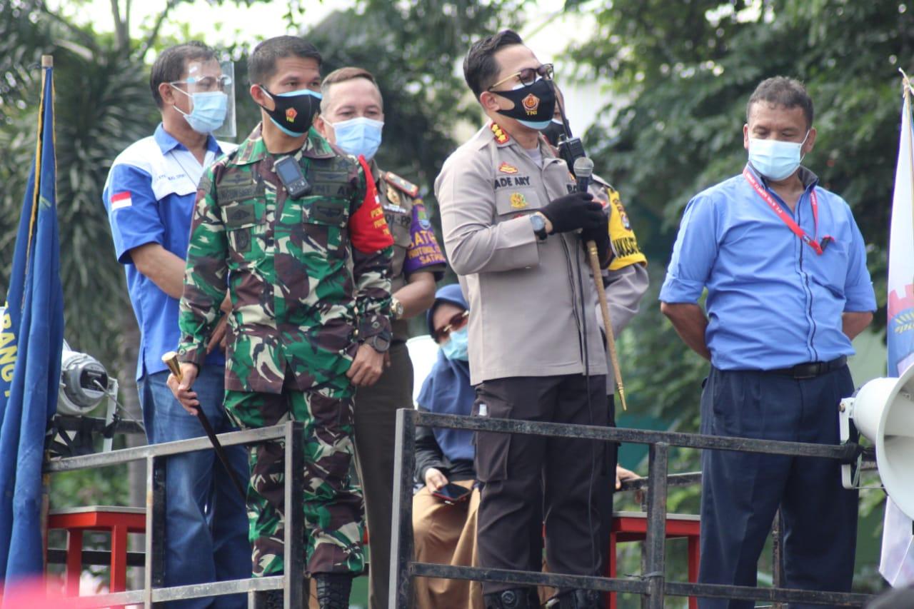 Dandim 0510/Trs Bersama Kapolresta Himbau Massa Aksi Buruh Tetap Jaga Protokol Kesehatan