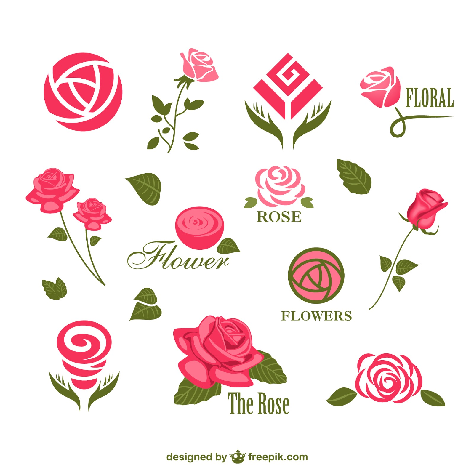 Abstract Rose Logos Free Download Vector CDR, AI, EPS and PNG Formats