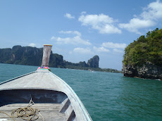 We took a long tail boat from Krabi to Railay Beach- our first glimpse of the beach was breathtaking!