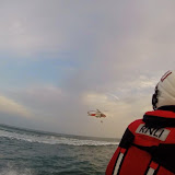 Poole lifeboat crew training with Portland helicopter 18 July 2014 Photo: RNLI Poole/Lewis Singleton