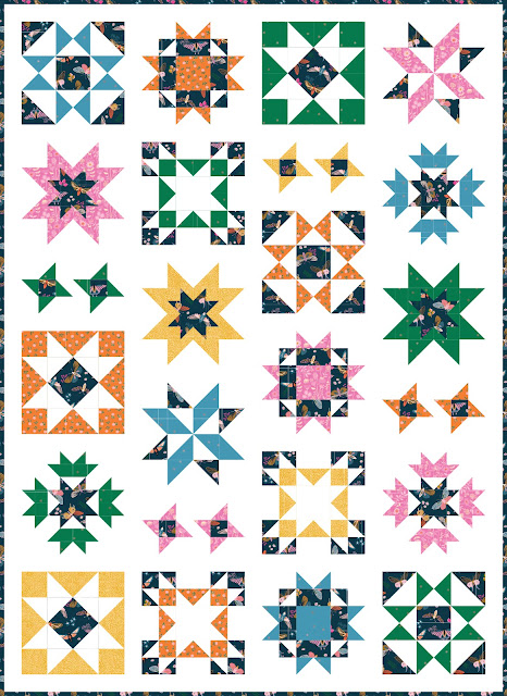 Clear Sky quilt pattern by Andy of A Bright Corner - a modern sampler style star quilt in Stay Gold fabrics by Ruby Star Society