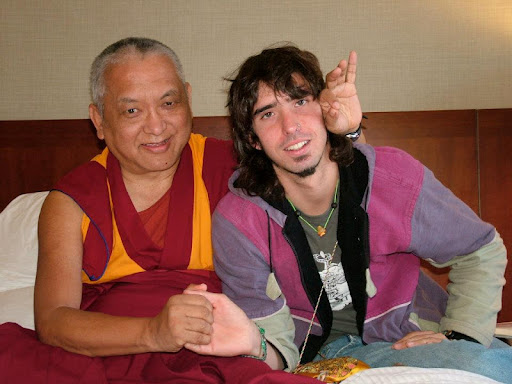 Lama Zopa Rinpoche and Osel in Los Angeles, CA USA in July 2006