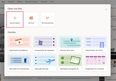 Captura de pantalla con las diferentes plantillas para crear listas (en blanco, Excel, de lista existente...)