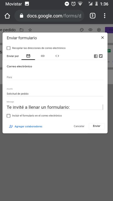 enviar google forms via correo