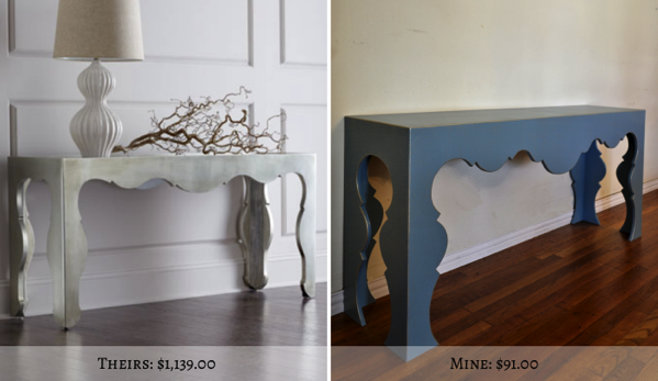 DIY scalloped console table price savings1