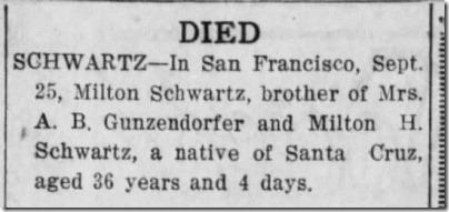 Milton_Colman Schwartz died Santa Cruz Evening News 9_28_1920 pg 9