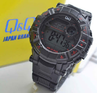 jam tangan Q&Q M152J001Y black rubber  Red
