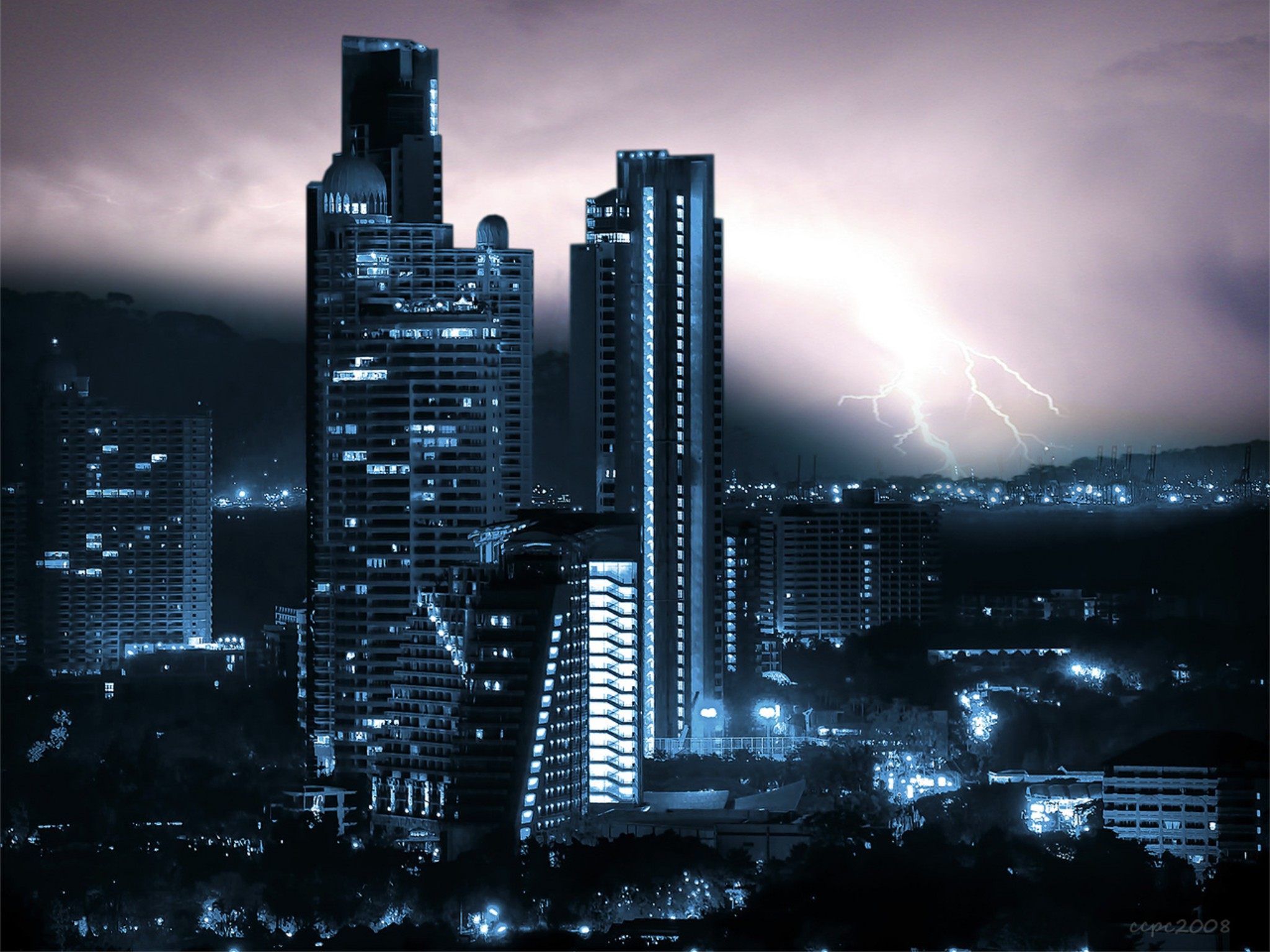 Photo: Stormy night at the dark city. My contribution to #saturdaynightlights curated by +Dirk Heindoerfer
