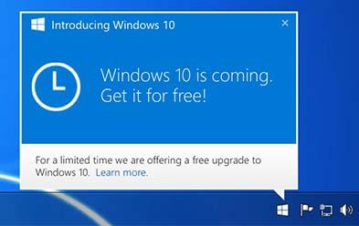 Notificación de descarga para Windows 10