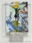 """""""Mensch"""", Glas, Schwarzlot,bemalte Rückwand, 2005/09"""
