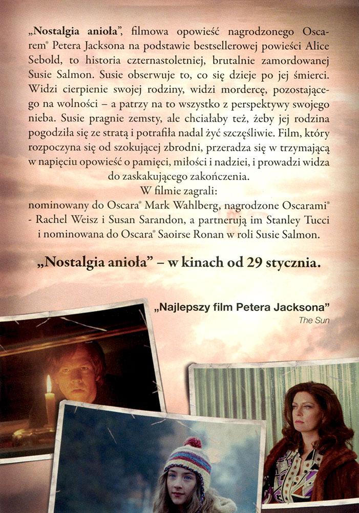 Ulotka filmu 'Nostalgia Anioła (tył - wersja B)'