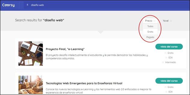 Buscador de cursos online - Filtro