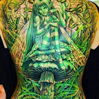 girl back butterflies green mushroom - Fairy Tattoos
