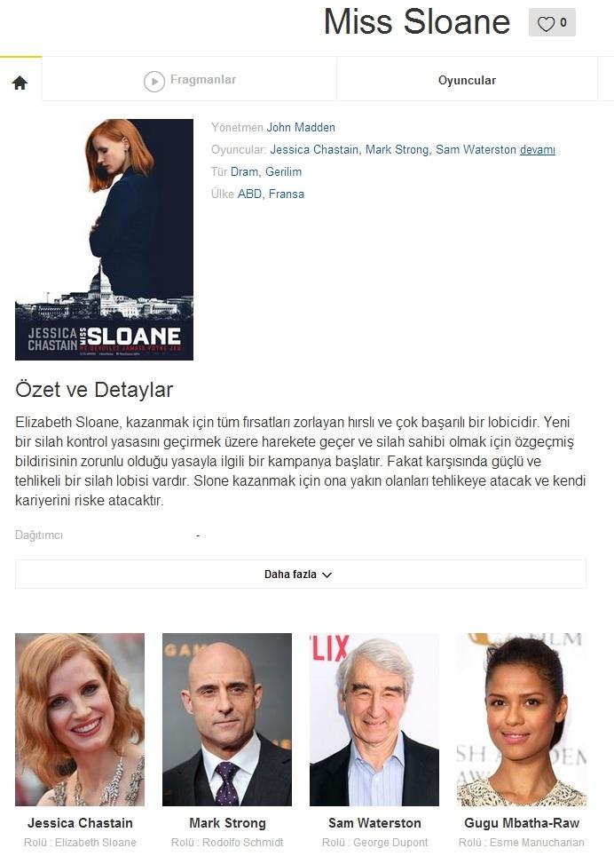 Miss Sloane 2016 - 1080p 720p 480p - Türkçe Dublaj Tek Link indir