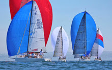 J/70s and J/120s sailing off San Diego at J/Fest