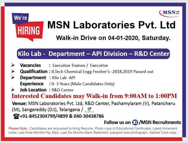 MSN Laboratories Ltd - Walk in interview for Kilo Lab, PM Department on 4th Jan 2020