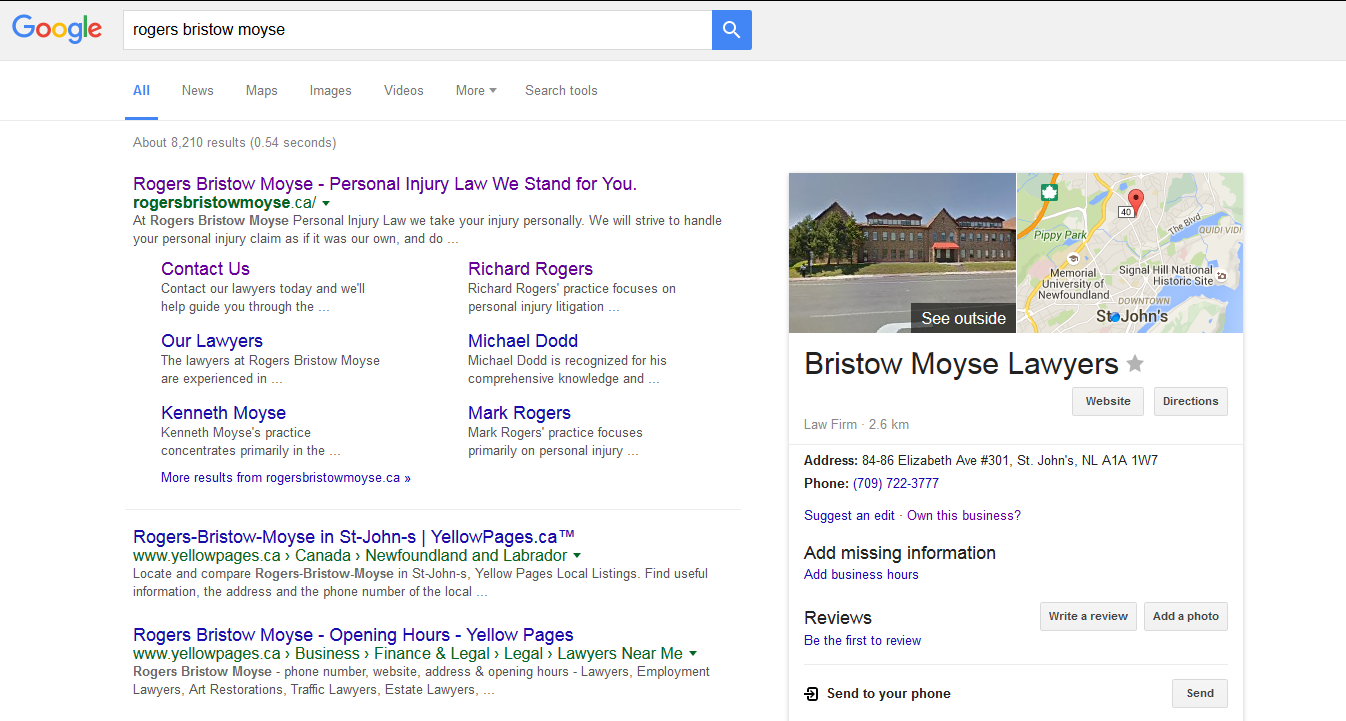 Google Search for Rogers Bristow Moyse