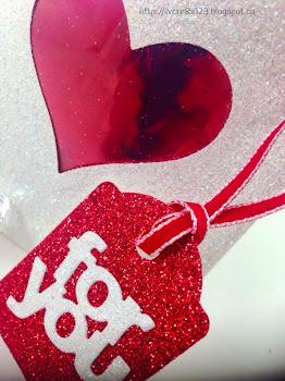 Linda Vich Creates: Valentine Round Up. Dazzling Diamond Mini Treat Bag dazzles with red glimmer tag and red taffeta ribbon.