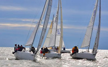 J/80 one-design sailboat- sailing in East Coasts off Annapolis, MD