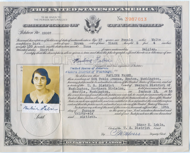 Pauline Fabre, Renton WA, Certificate of Citizenship 1936.