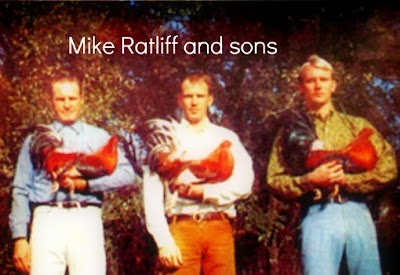 MIke Ratliff with his sons on the cover of a fighting cock magazine.jpg