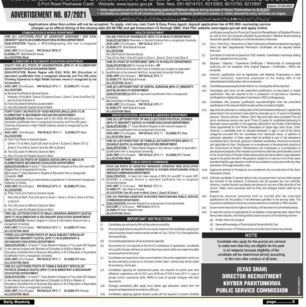 KPPSC Jobs 2021 KPK Public Service Commission Jobs Apply Online (186 Posts)