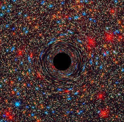 simulação de um buraco negro no núcleo de uma galáxia