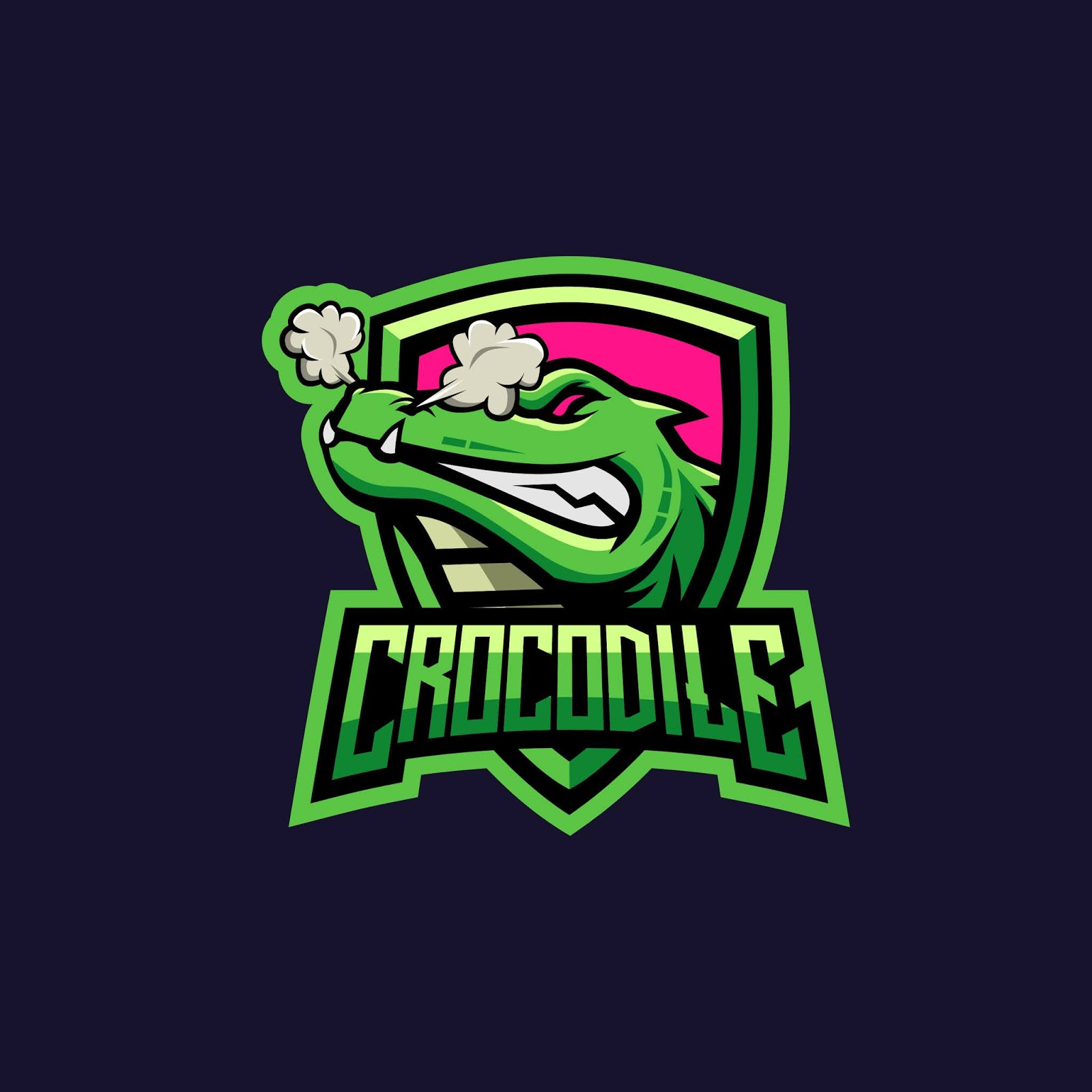 Strong Crocodile Illustration Logo Gaming Squad Free Download Vector CDR, AI, EPS and PNG Formats