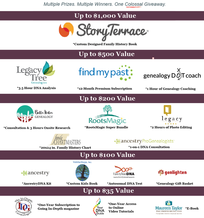 Genealogy Business Alliance RootsTech 2017 Colossal Giveaway prizes