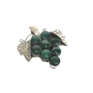 Sterling Silver & Malachite Grape Cluster Brooch