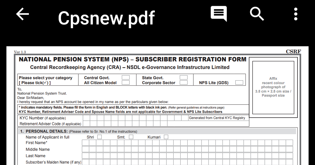 National Pension System (nps) Form Pdf