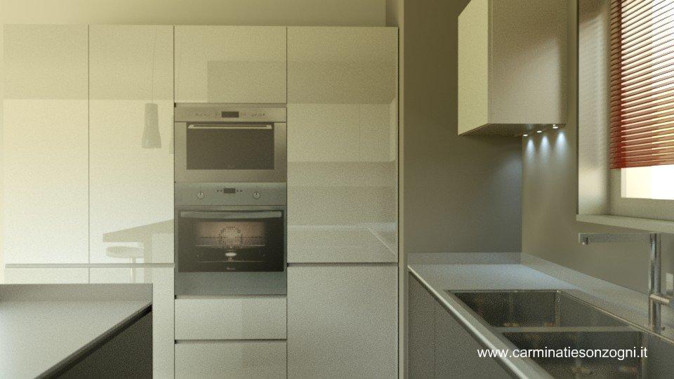 progetto di cucina Valcucine per cliente di Bergamo vista colonne.jpg