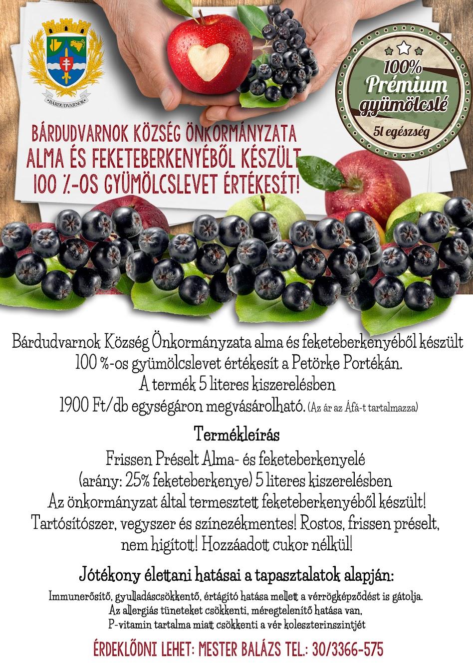 Gyümölcslé plakát Bárdudvarnok Petörke Portéka - termékleírás