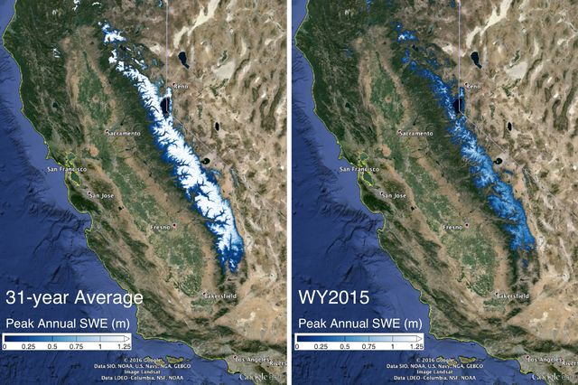 The image on the left shows the 31-year average snow water equivalent in the Sierra Nevada mountains compared with the snow water equivalent in 2015. Graphic: Steve Margulis / UCLA