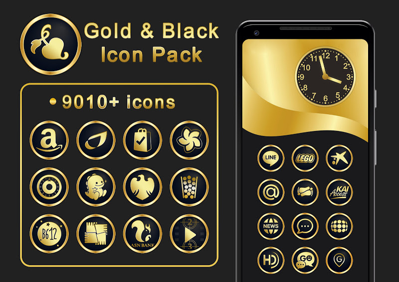 Gold & Black Icon Pack 9010+ icons Screenshot 6