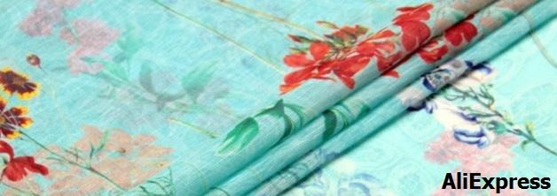 Lino seda estampado floral