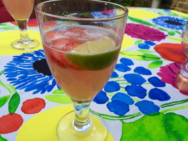 Rhubarb and strawberry sangria with rhubarb and ginger syrup