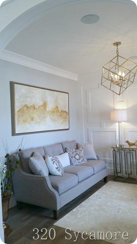 geometric wall pattern living room