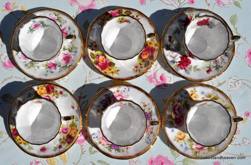 Six Elizabethan Jacobean teacups inside view