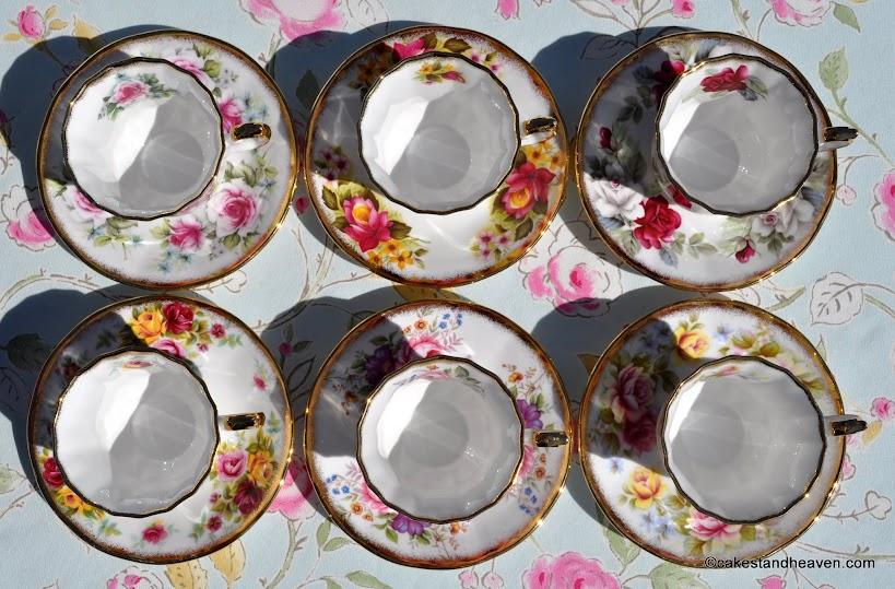 Six Elizabethan Jacobean teacups inside view