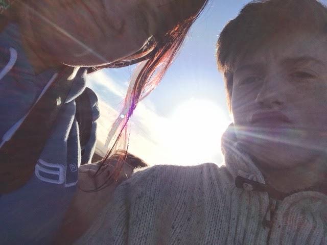 awkward selfie, sunflare