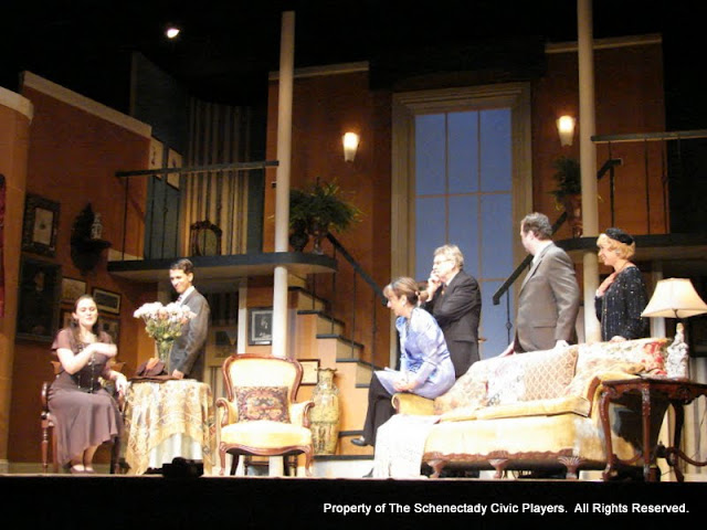 Stephanie G. Insogna, James Dick, Benita Zahn, Richard Harte, Richard Michael Roe and Patricia Hoffman in THE ROYAL FAMILY (R) - December 2011.  Property of The Schenectady Civic Players Theater Archive.
